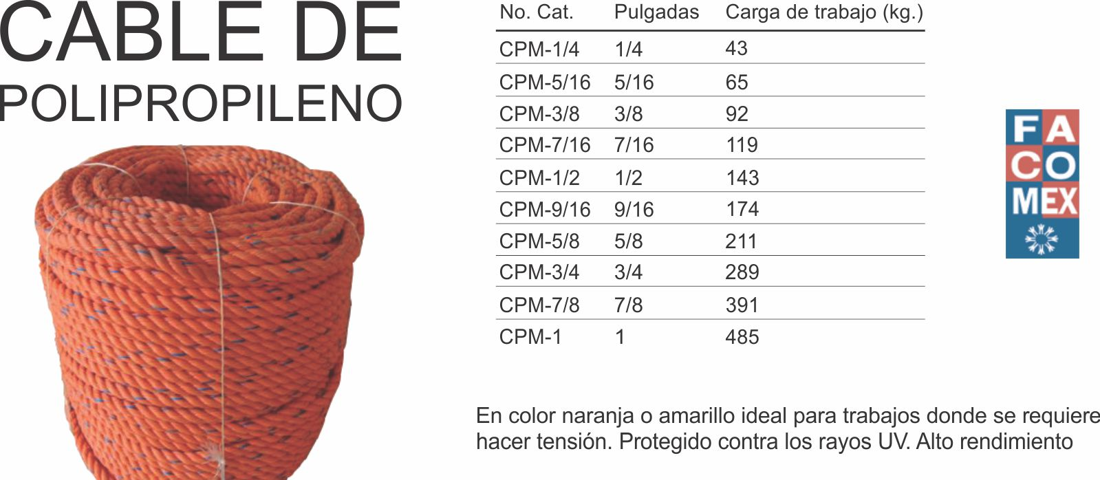 Cable prolipropileno